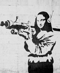 Murales del famoso artista Banksy: Gioconda con bazooka