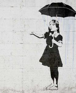 Murales del famoso artista Banksy: Bambina con ombrello