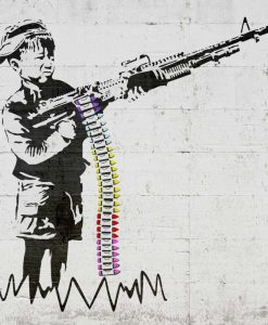 Murales del famoso artista Banksy: Bambino con mitragliatore