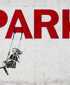 Murales del famoso artista Banksy: Bambina su una altalena