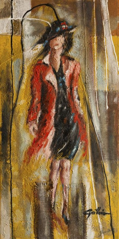 Ritratto di una donna con impermeabile e cappello