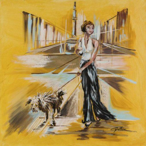 Donna con cane a passeggio