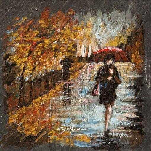 Dipinto astratto di una donna con ombrello nella pioggia