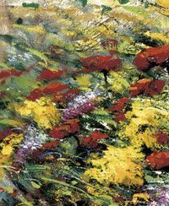 Prima parte di una composizione di dipinti di fiori su una spiaggia