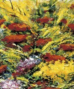 Seconda parte di una composizione di dipinti di fiori su una spiaggia