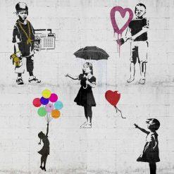 Mix di murales con bambini del famoso artista Banksy
