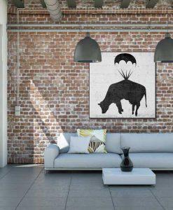 Murales del famoso artista Banksy: Mucca con paracadute
