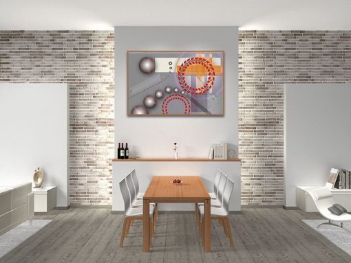 Dipinto astratto con ingranaggi e illusione ottica