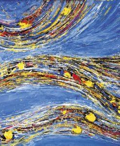 Dipinto astratto con fasci colorati su sfondo blu