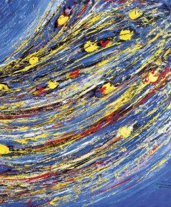 Dipinto astratto con fascio colorato su sfondo blu