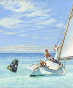 Barca a vela fra le onde azzurre del mare