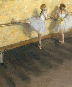 Due ballerine si esercitano alla sbarra