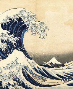 Illustrazione di un'onda in stile giapponese