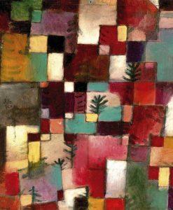 Dipinto con tasselli di vari colori e alberi stilizzati