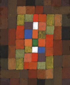 Dipinto con tasselli dai colori caldi
