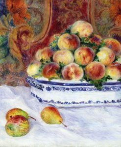 Dipinto di frutta su una tavola bianca