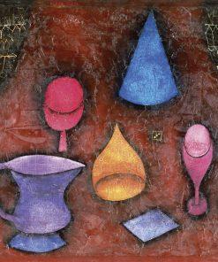 Dipinto con bicchieri e brocche con prospettiva particolare
