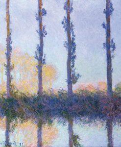 Quattro alberi che si riflettono nell'acqua