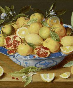 Dipinto di una ciotola piena di limoni