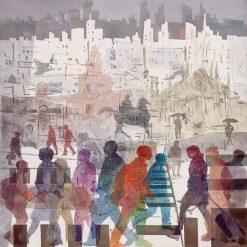 Sagome colorate di persone che camminano per Milano