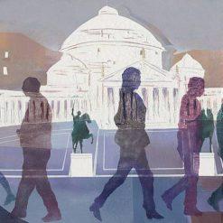Sagome colorate di persone che camminano per Napoli