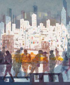 Sagome colorate di persone che camminano per la città