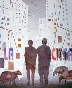Sagome di due pastori che osservano i palazzi della città