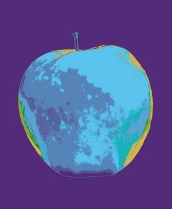 Mela blu su sfondo viola con effetto sovrapposizione