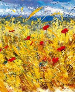 Dipinto di un campo di grano con papaveri