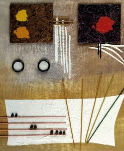Quadro moderno contemporaneo colorato con decori e geometrie