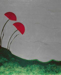 Quadro moderno astratto fiori Ikebana rossi fondo grigio e verde