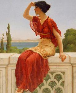 Ragazza dell'antica Grecia che scruta l'orizzonte