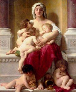 Donna povera che accudisce diversi bambini