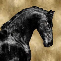 Cavallo nero su sfondo dorato