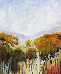 Fronde di alberi con colori autunnali e toni pastello