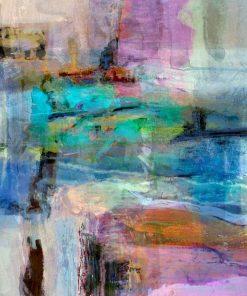Dipinto astratto con tonalità viola e blu