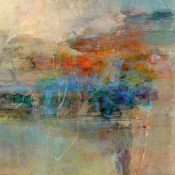 Dipinto astratto grigio con tocchi arancio e blu