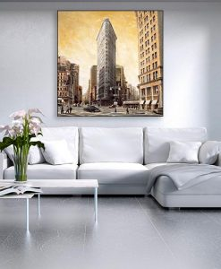 Ambientazione Illustazione vintage del Flatiron Building
