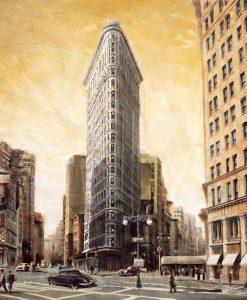 Illustazione vintage del Flatiron Building
