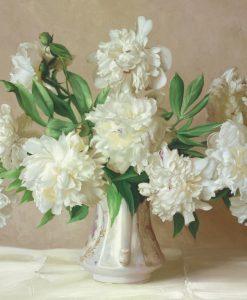 Dipinto di peonie bianche in un vaso