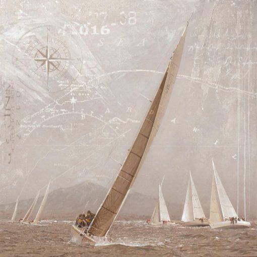 Dipinto vintage regata effetto seppia