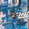 """Graffito blu """"peace love"""""""