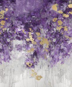 Dipinto astratto con cascata di petali color viola e oro