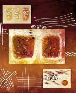Quadro moderno marrone sfumato con decori astratti