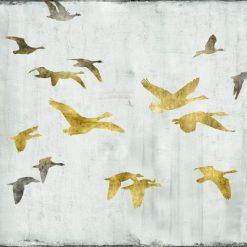 Silhouette di uno stormo di uccelli dorati