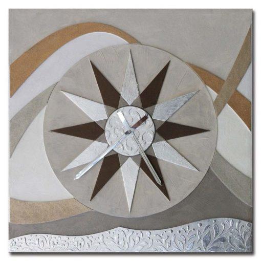 Tema in rilievo - Decori materici - Dettagli in foglia metallica color argento (movimento al quarzo)