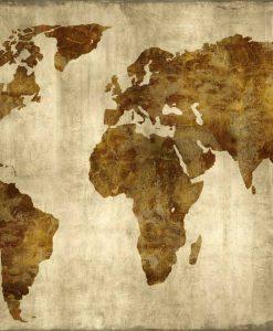Mappa del mondo dorata su sfondo ocra