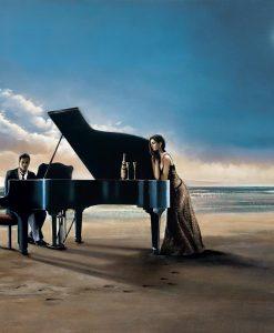 Romantica serenata sulla spiaggia
