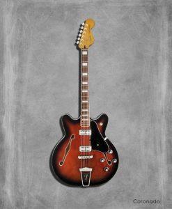 Dipinto di una chitarra elettrica rossa Fender Coronado