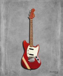 Dipinto di una chitarra elettrica rossa Mustang 1970